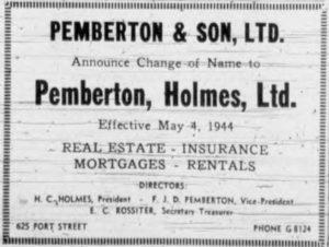 Pemberton & Son to Pemberton Holmes